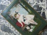 アンティーク 森の中の小女と猫の親子 ドラジェのボックス