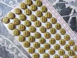 アンティーク シルクサテンのくるみボタン 格子柄  モスグリーン&黄色 72ピース