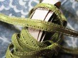 ★5周年セール対象外★アンティーク シルク製  極細 ピコットリボン オリーブグリーン 7m