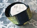 アンティーク ジャガード織 グログランリボン 紺&イエローゴールド 3.3cm幅 2.3m