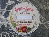 アンティーク 薔薇と菫ソープクリームのラベル CREME DE SAVON PARFUMEE AUX FLEURS - JN.GIRAUD.FILS-