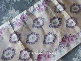 アンティーク  シルク製 ぼかし織 幅広リボン 薔薇のリース 1.1m