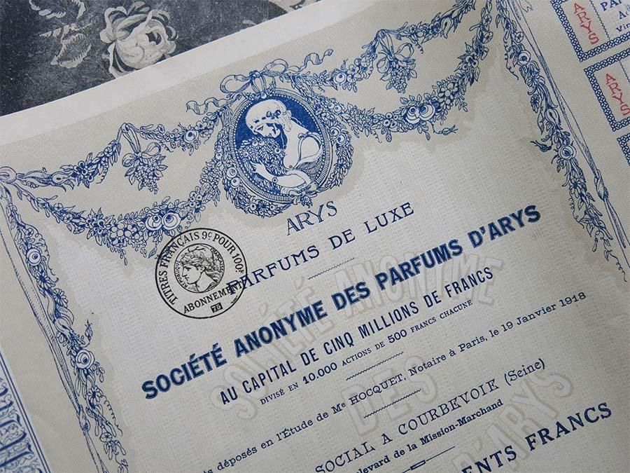 画像1: 1918年 アンティーク  香水店 ARYS の株式 -PARFUMS DE LUXE ARYS