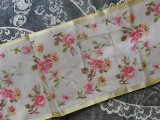 アンティーク ピンクの薔薇 シルク製 ぼかし織 幅広リボン