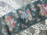 19世紀末 アンティーク ピンクの薔薇 シルク製 ぼかし織 炭色の幅広リボン 2.9m