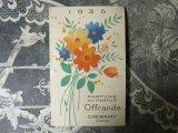 1935年 アンティーク 草花のブーケのパフュームカード OFFRANDE-CHERAMY PARIS-