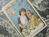 1889年 アンティーク クロモ 人形と遊ぶ少女 NO.5 LA DINETTE-LIEBIG-