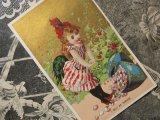 アンティーク クロモ  パックの卵と少女 L'OEUF DE PAQUES -GEORGE CAFFE-