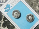 アンティーク 小鳥と草花 モノトーンの硝子ボタン