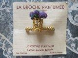アンティーク 香り付きブローチ 紫の花かご