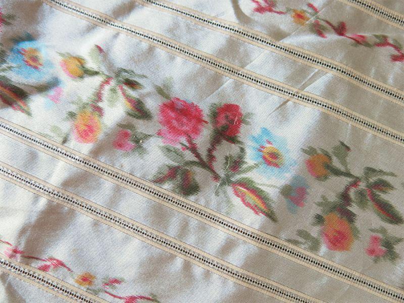画像1: アンティーク  シルク製 ぼかし織 幅広リボン ピンクの薔薇 1.5m